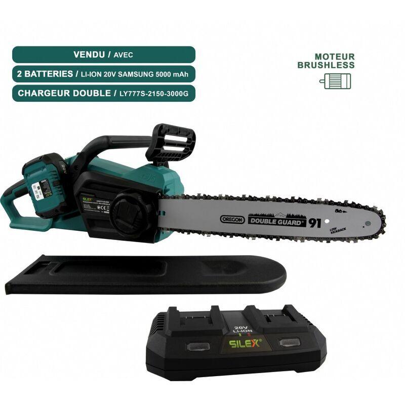 Silex – Tronçonneuse sans fil à batterie 40V SLX ® + chargeur + 2 batteries 5ah SAMSUNG – moteur Brushless – guide /chaîne Oregon 35 cm