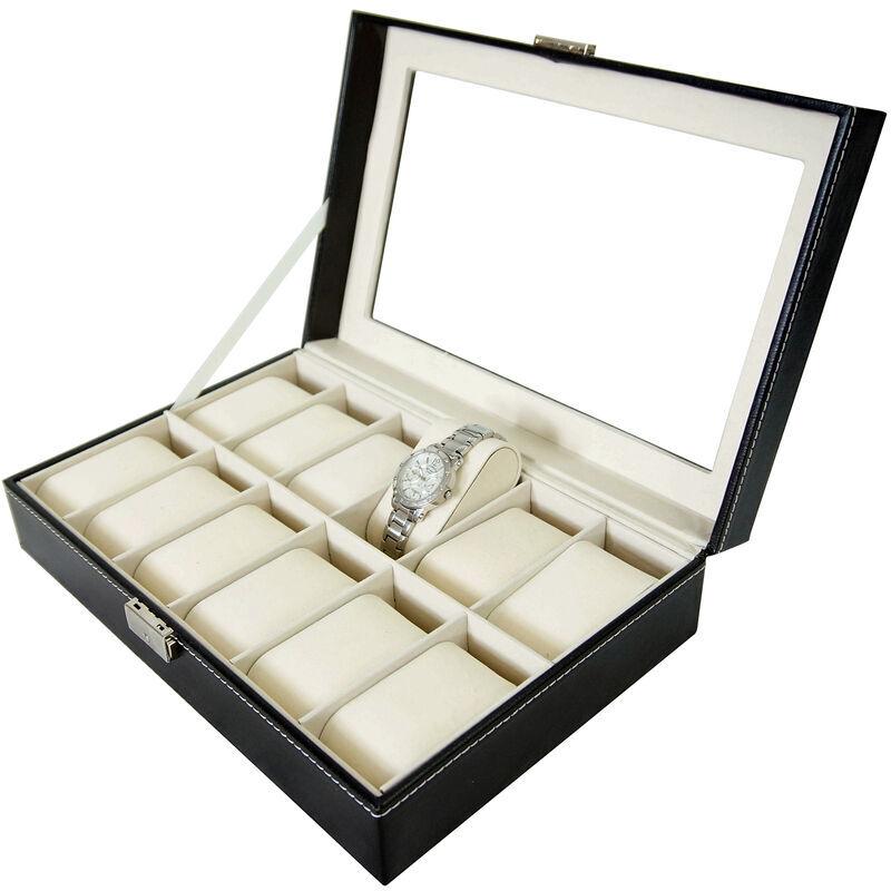 TODECO Boite pour Montres et Bracelets, Coffret à Montres, Noir/Beige, 12 montres et