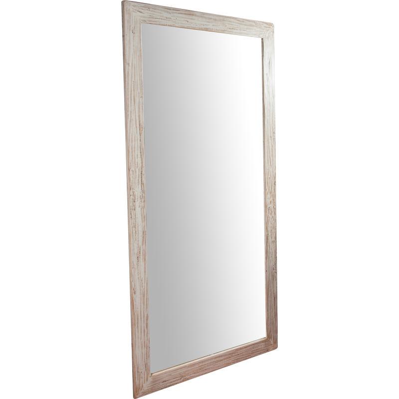 BISCOTTINI Miroir Mural à accrocher rectangulaire en bois massif de tilleul finition crème