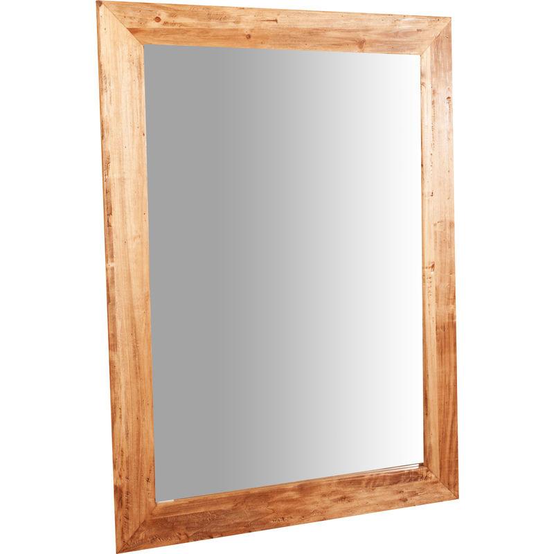 BISCOTTINI Miroir Mural à accrocher rectangulaire en bois massif de tilleul finition
