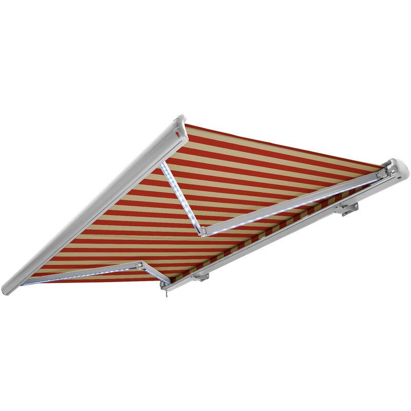 NEMAXX Store banne motorisé de NEMAXX avec LED, coloris de la toile beige-orange,