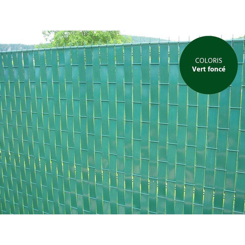 JARDIDECO Lanière PVC pour palissade largeur 43 mm x 60 m+100 clips- Vert Foncé