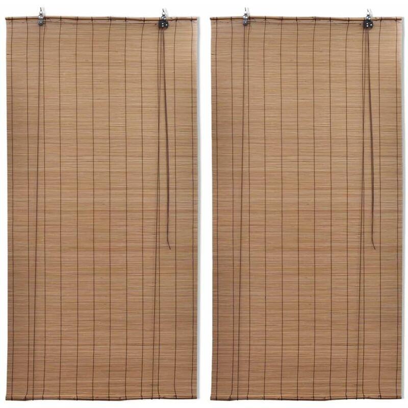 PERLE RARE Stores roulants en bambou 2 pcs 100x160 cm Marron - Perle Rare