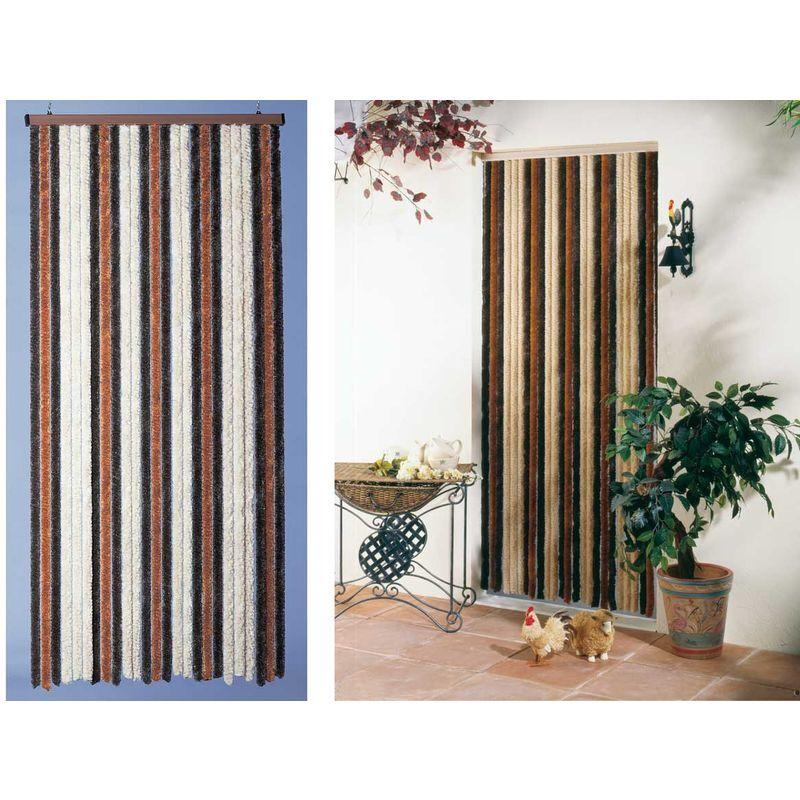 JARDIDECO Rideau de porte chenille Florence - 100 x 220 cm - Beige / bronze / brun