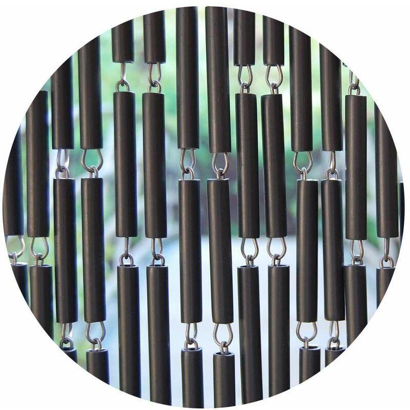 LA TENDA Rideau de porte en polyéthylène anthracite et acier Campos 90x210 cm