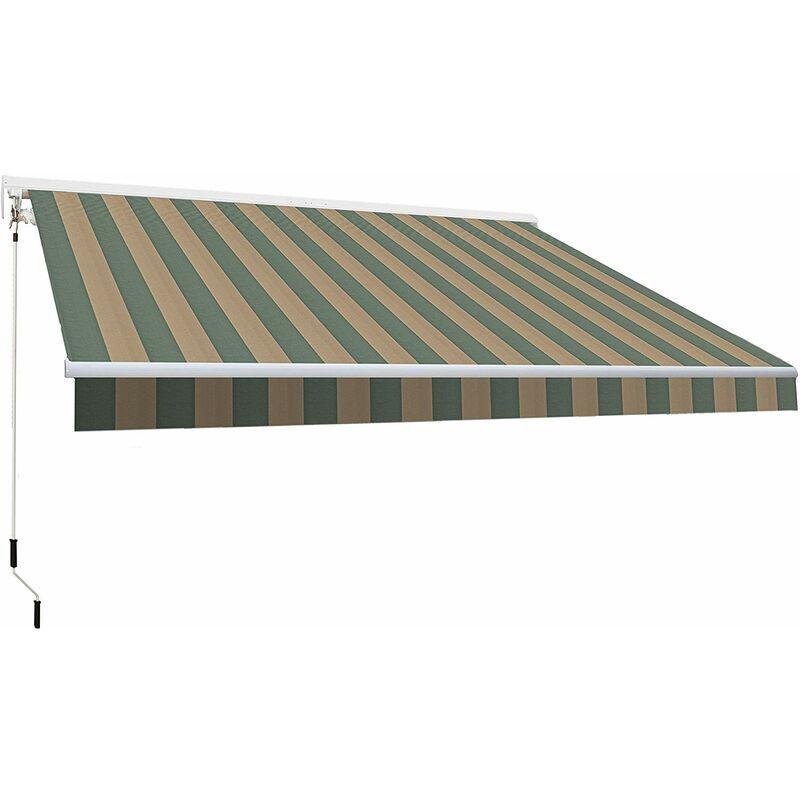 Smartsun - Store banne motoris� 3x2m toile polyester verte grill�e