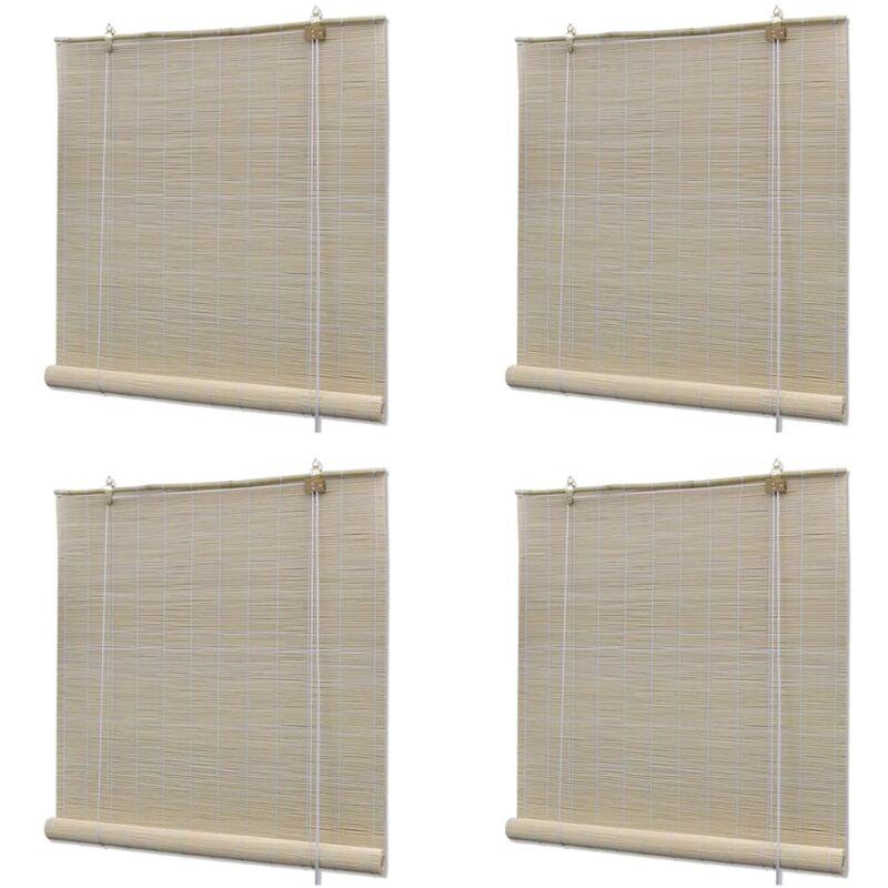 VIDAXL Stores à rouleau Bambou naturel 4 pcs 120 x 160 cm
