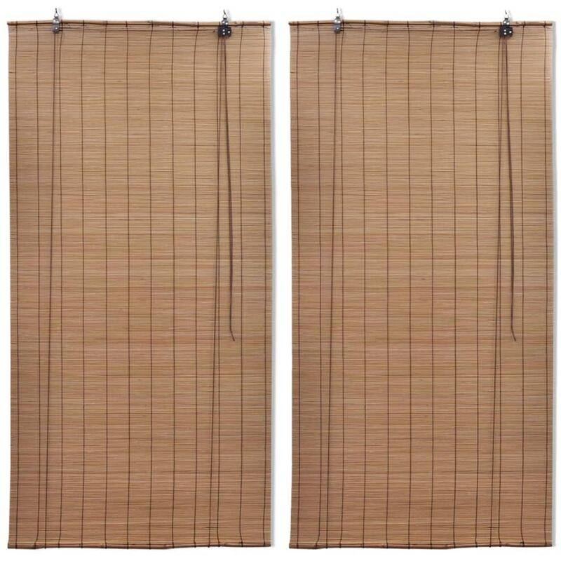 YOUTHUP Stores roulants en bambou 2 pcs 100x160 cm Marron