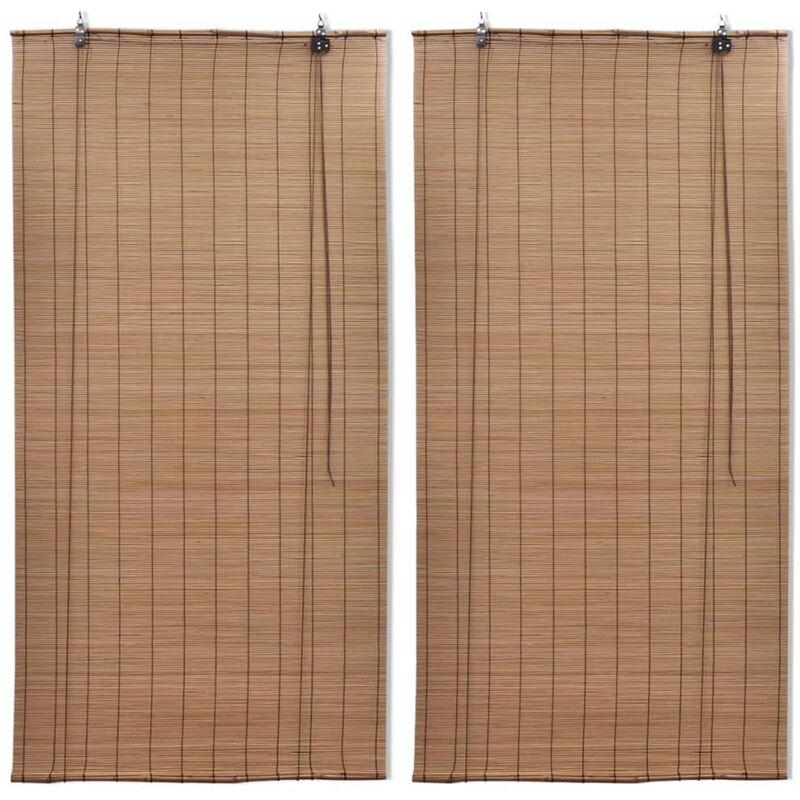 VIDAXL Stores roulants en bambou 2 pcs 100x160 cm Marron