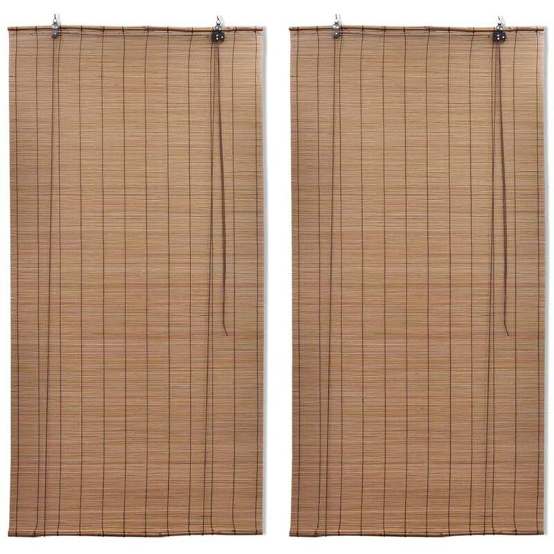 YOUTHUP Stores roulants en bambou 2 pcs Marron 120x220 cm