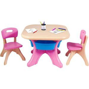 COSTWAY Ensemble Table et Chaises pour Enfant, Inclus 1 Table et 2 Chaises, Matériau - Publicité