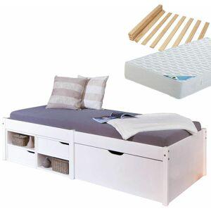 Altobuy - Forel - Pack Lit Multi-Rangement 90x200 Blanc + Matelas Maldives - Publicité