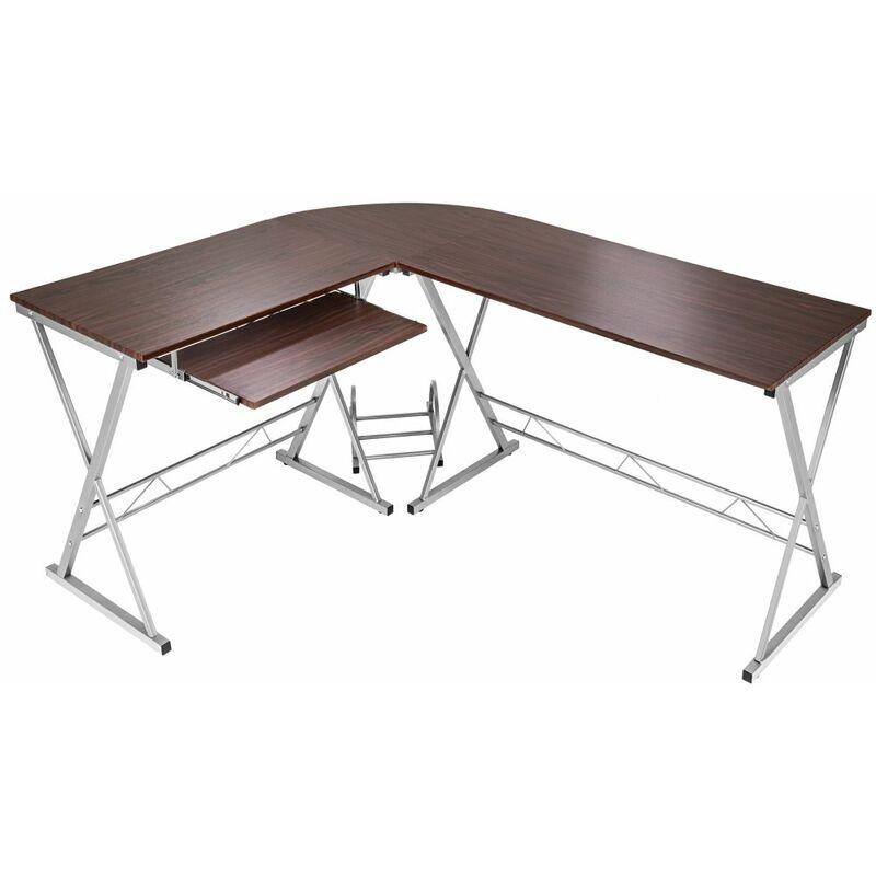 HELLOSHOP26 Bureau d'angle informatique meuble marron 170 cm - Marron