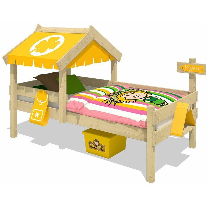 WICKEY Lit enfant, Lit maison Crazy Buddy bâche jaune Lit en bois 90 x 200 cm - Wickey