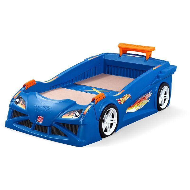 STEP2 Hot Wheels Race Car Lit Enfant Voiture pour Garçons en bleu   100x190 cm - Step2