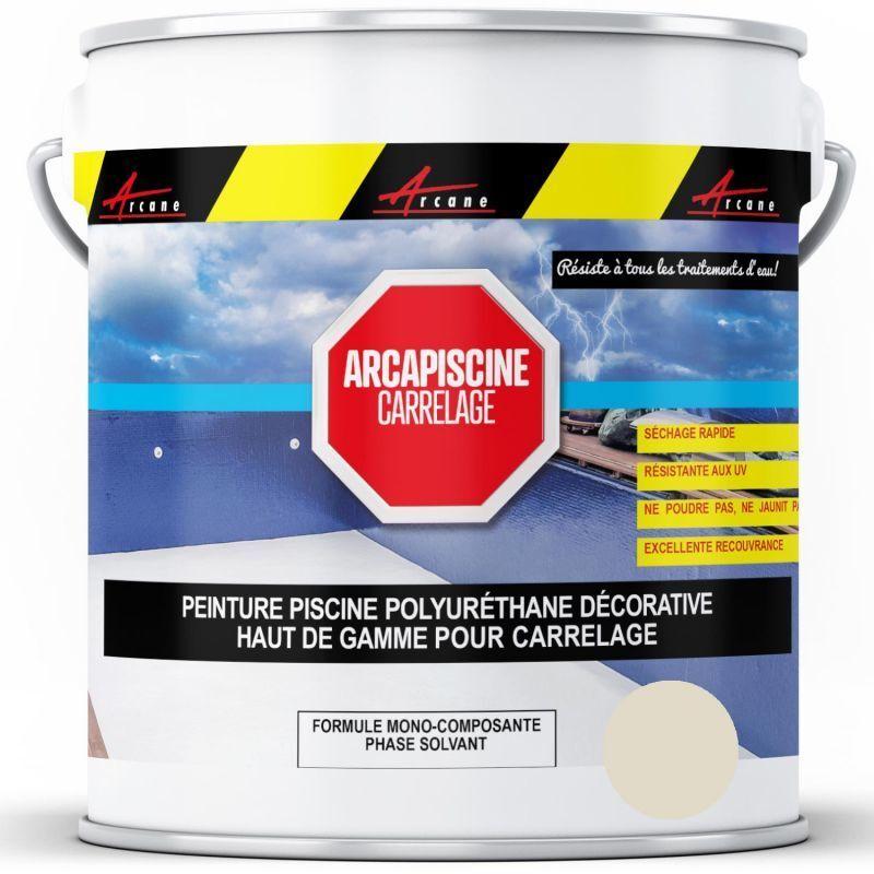 ARCANE INDUSTRIES Peinture Piscine Carrelage Polyuréthane Blanc Perlé (ral 1013) - 20 kg (jusqu'à