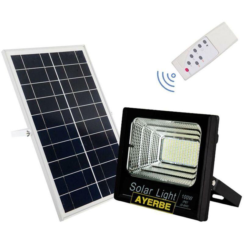 AYERBE Projecteur solaire télécommandé 100W 120Leds Noir Ayerbe