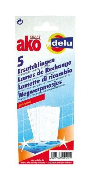 DELU - Lot de 5 lames de rechange pour raclette vitrocéramique