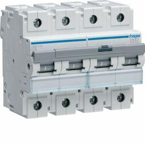 HAGER Disjoncteur 4P 50kA courbe C - 10A 6 modules (HMX410) - Publicité