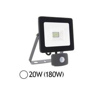 VISION-EL Projecteur LED 20W (180W) IP65 Plat Blanc jour 6000°K avec détecteur - Publicité
