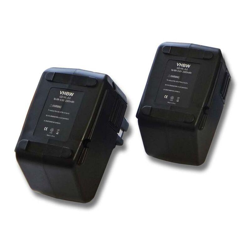 VHBW 2x Batterie Ni-MH 3300mAh (9.6V) vhbw pour outils Hilti SB10, Hilti BD2000
