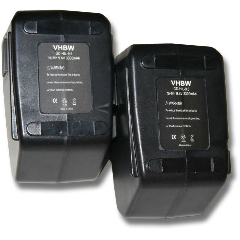 VHBW 2x Batterie Ni-MH 3300mAh (9.6V) pour outils Hilti SF100, SF100A, SFB105 comme