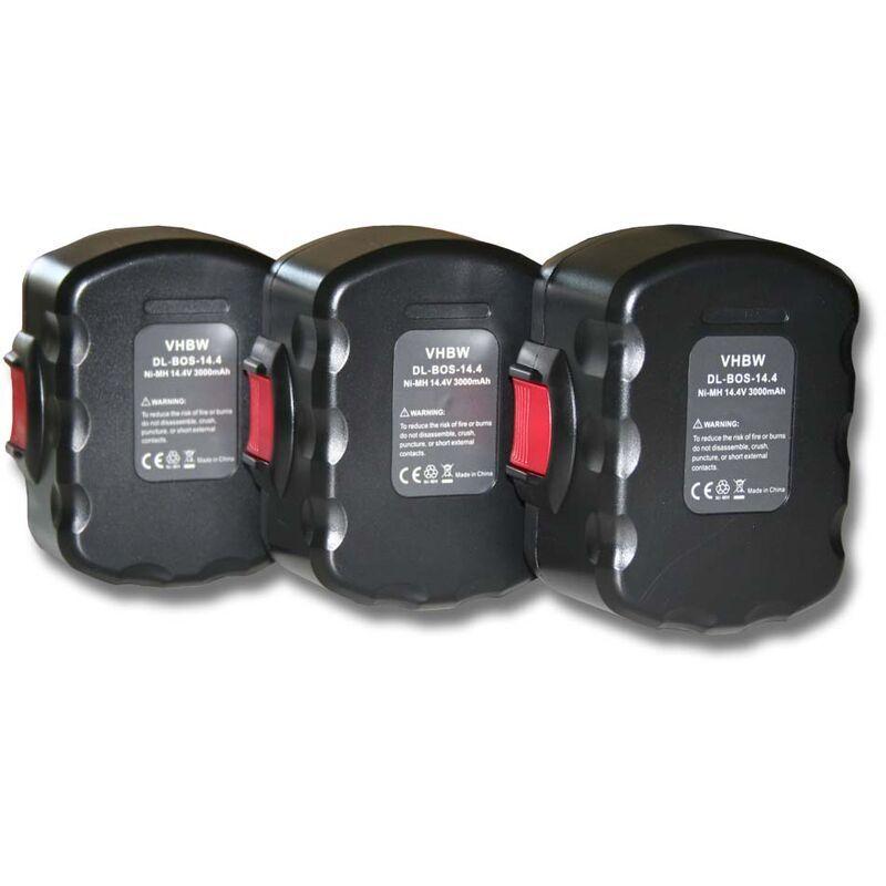 VHBW 3x Batterie compatible avec Bosch 3660K, 4 VE, AHS 41, GDR 14.4V, GDS 14.4V,