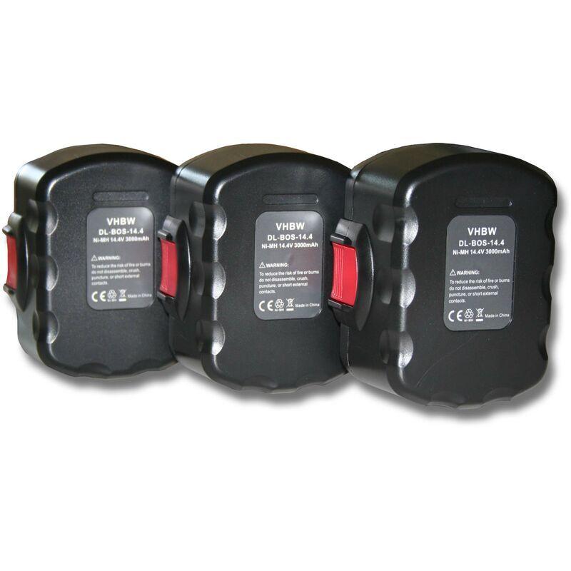 VHBW 3x Batterie Ni-MH 3000mAh (14.4V) pour outils Bosch AHS 41, GDR 14.4V, GDS
