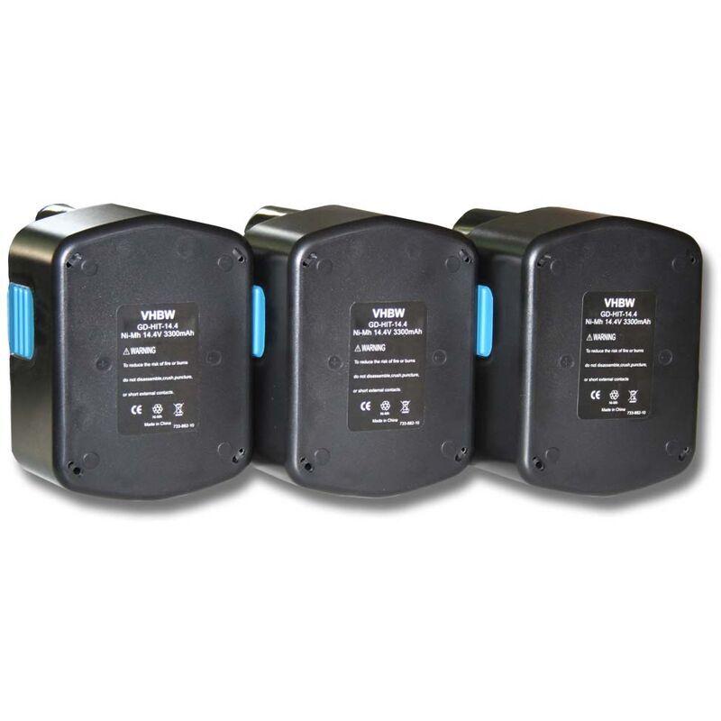 VHBW 3x Batterie Ni-MH 3300mAh (14.4V) pour outils Hitachi C-2, CJ 14DL, D V14DCL,