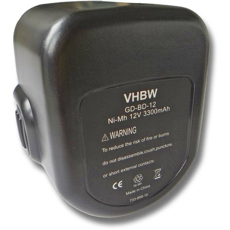 Vhbw - Batterie 3000mAh pour outil Black & Decker CD1202GK, CD12CB, CD431K,