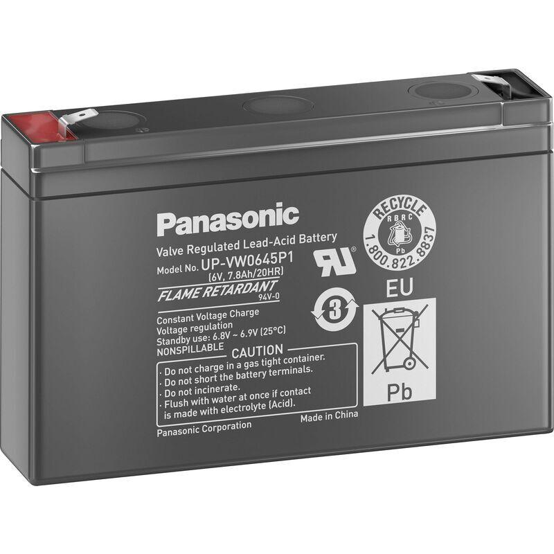 PANASONIC Batterie au plomb 6 V 7.8 Ah Panasonic sans entretien, auto-décharge réduite