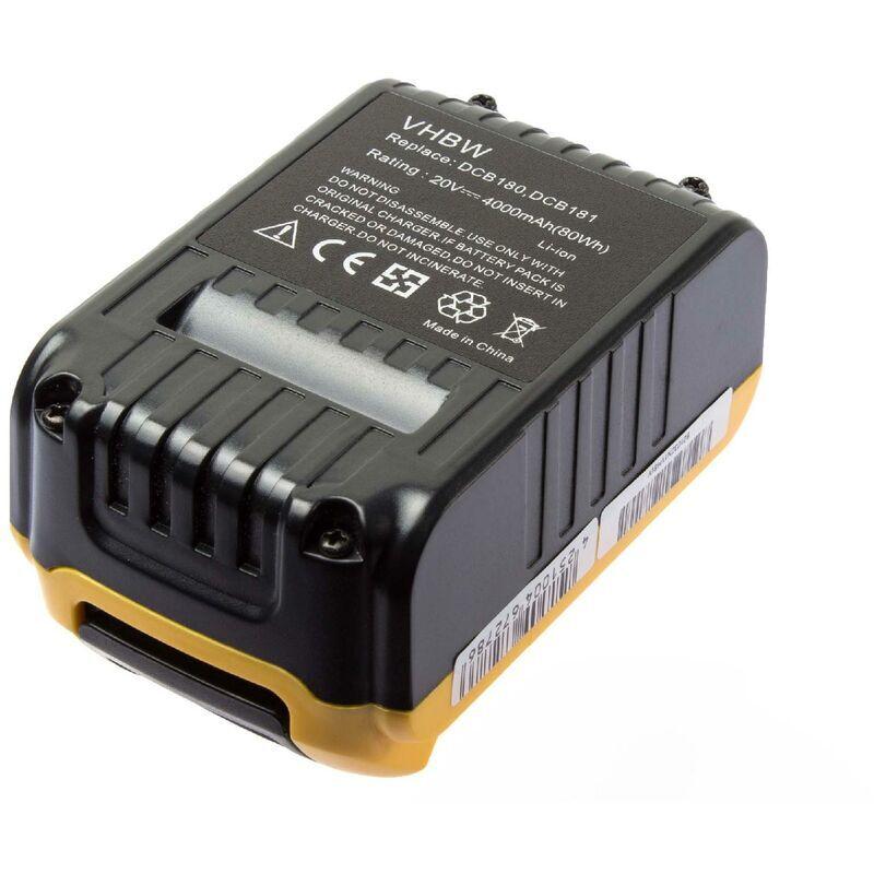 VHBW Batterie Li-Ion 4000mAh (20V) vhbw pour outils Dewalt DCD785C2, DCD785L2,
