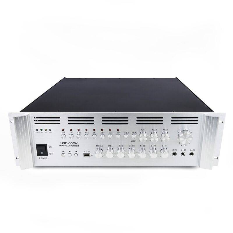 BEMATIK Amplificateur de son Professional 800W 110V 8 zones avec MP3 AUX MIC rack