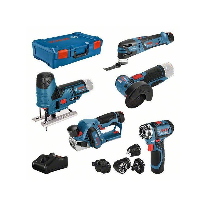 Bosch professional Set de 5 outils 12 V : GSR (FC) + GOP + GHO + GWS + GST +