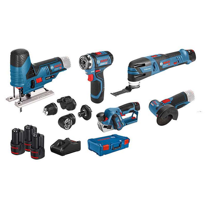 Bosch Professional Set de 5 outils - 12V: GSR (FC) + GOP + GHO + GWS + GST ??+