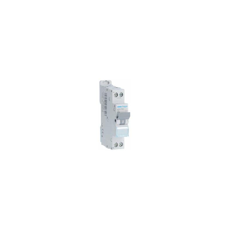 HAGER Disjoncteur 1P+N - 3kA C-2A - 1 Module - Hager