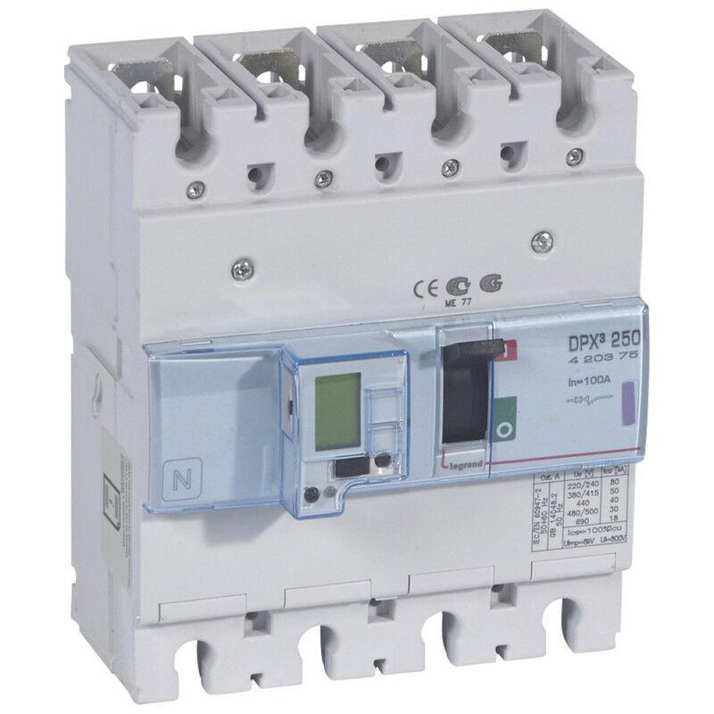 Legrand - Disjoncteur électronique DPX250 pouvoir de coupure 50kA 400V~ 4P 100A