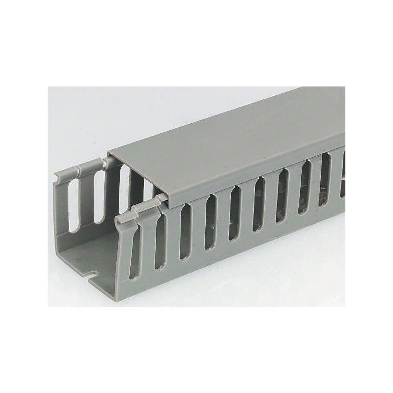 RS PRO Goulotte sécable Gris en PVC, Ouvert, 100 mm x 80mm 2m pour armoire