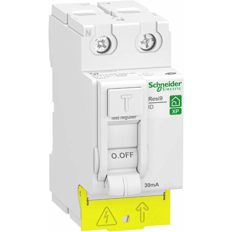 SCHNEIDER ELECTRIC Interr. Diff. Resi9 XP peignable - 2P 25A 30mA - Type AC - Alim. Bas