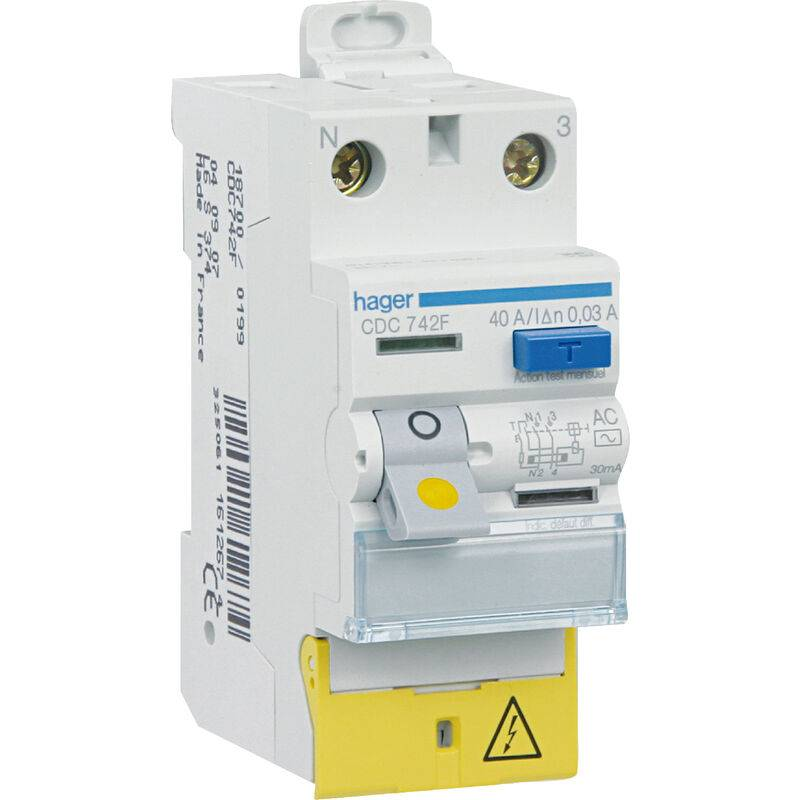 HAGER Interrupteur différentiel 63A 30mA type AC auto 230V - CDC764F