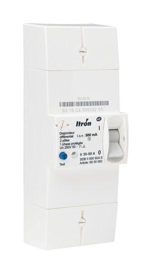 Itron 400020 Disjoncteur de branchement EDF 2P 60A - Diff 500 mA - sélectif