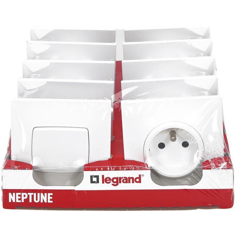 LEGRAND Lot de 2 va-et-vient et 8 prises 2P+T Legrand - Neptune - Blanc