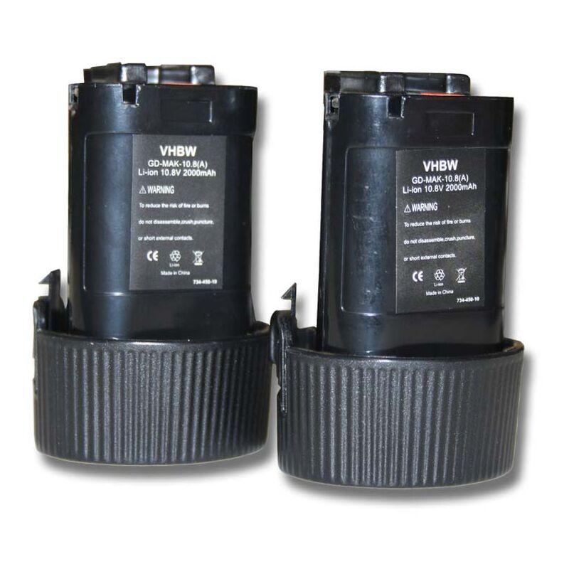 VHBW Lot 2 batteries Li-Ion vhbw 2000mAh (10.8V) pour outils scie sauteuse JR102,
