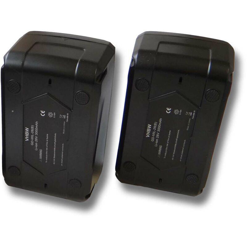 VHBW Lot 2 batteries Li-Ion vhbw 3000mAh (28V) pour outils comme scie sauteuse