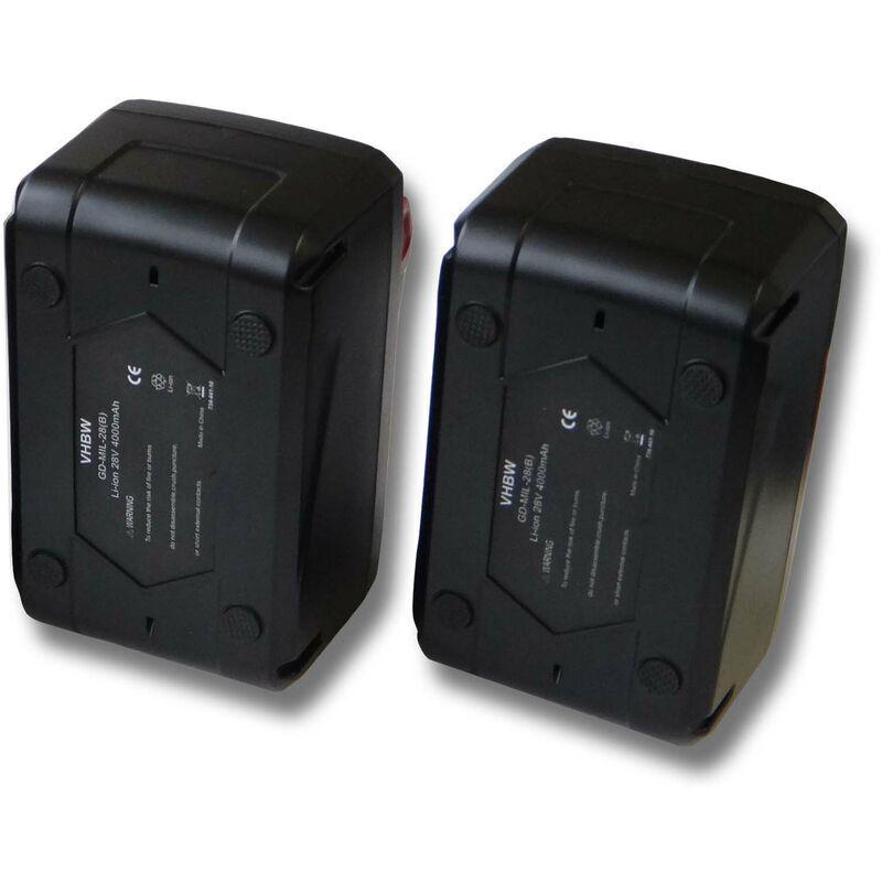 VHBW Lot 2 batteries Li-Ion 4000mAh (28V) pour outils scie circulaire Milwaukee HD28