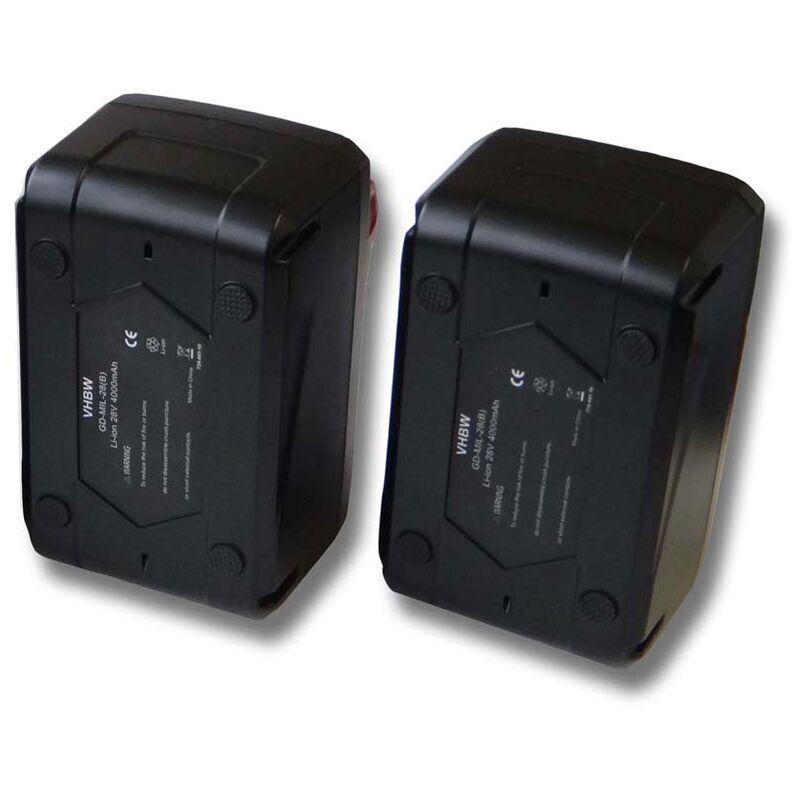 VHBW Lot 2 batteries Li-Ion 4000mAh (28V) pour outils scie sauteuse Milwaukee HD28