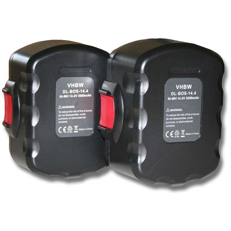 VHBW Lot 2 batteries Ni-MH 3000mAh (14.4V) pour outils Bosch 35614, 3660CK, 3660K, 4