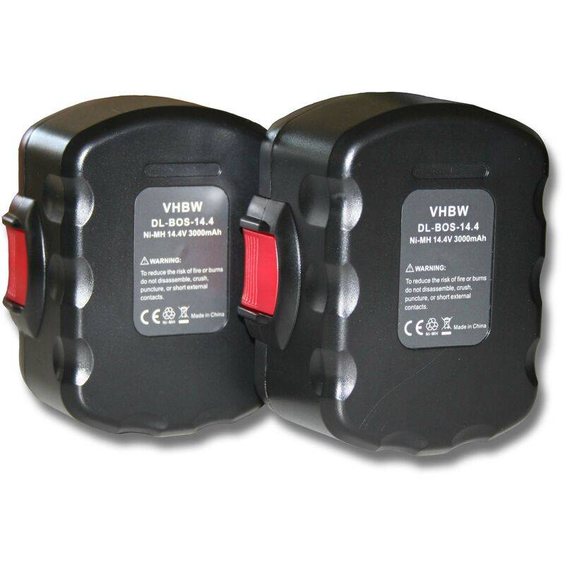 VHBW Lot 2 batteries 3000mAh pour outils Bosch GHO 14.4V, GHO 14.4VH, GLI 14.4V, GSB