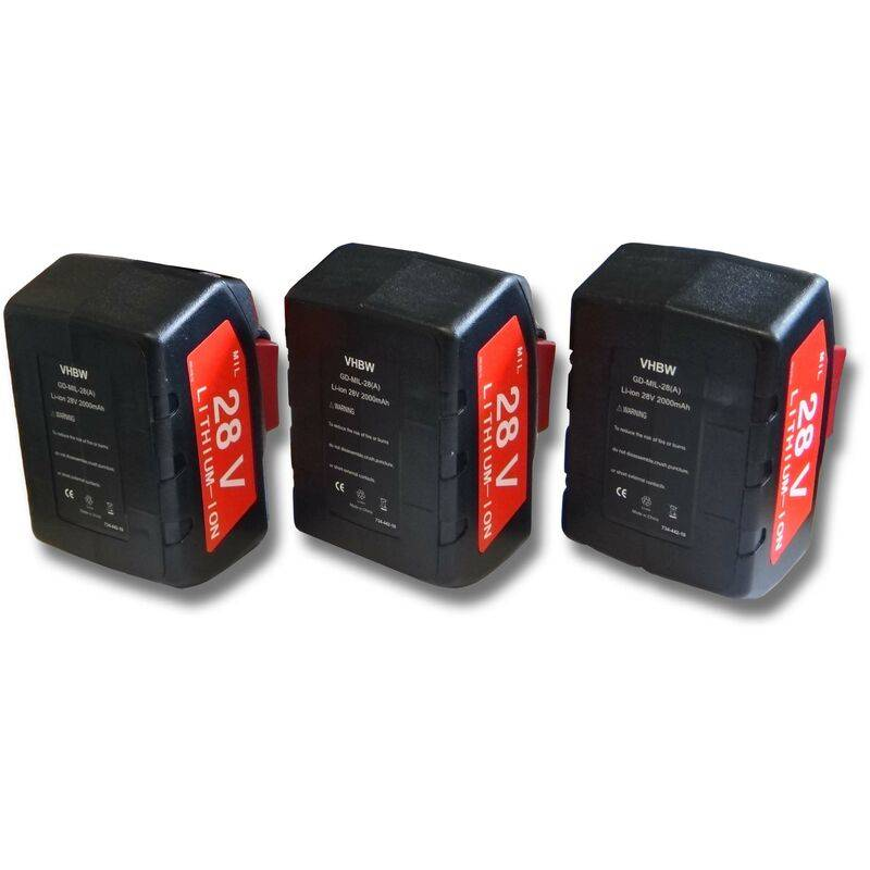 VHBW Lot 3 batteries Li-Ion 2000mAh (28V) pour outils Milwaukee scie sauteuse HD28