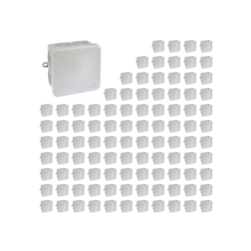 EUR'OHM Lot De 100 Boîtes De Dérivation étanches Ip55 80x80x45mm 960° Entrées Directes